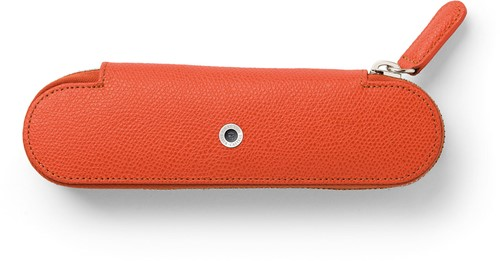 Graf van Faber Castell pen case for 2 pens burned orange leather with zipper