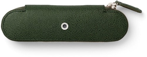 Graf van Faber Castell pen case for 2 pens olive green leather with zipper