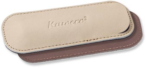 Kaweco Sport for 2 pens leather penpouch creamy espresso
