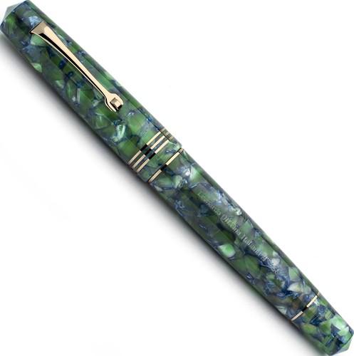 Leonardo Momento Zero Green / Blue and gold trim fountain pen