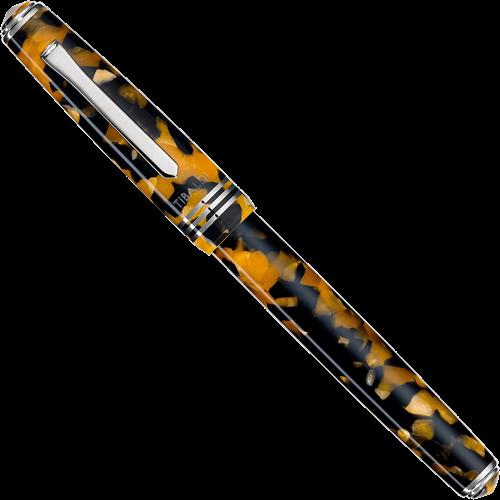 Tibaldi N60 amber geel en rhodium vulpen