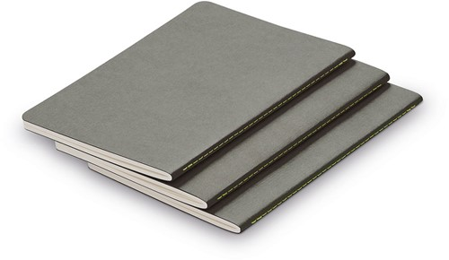 Lamy Booklet A6 set of 3 with silver grey cover and neon stitching