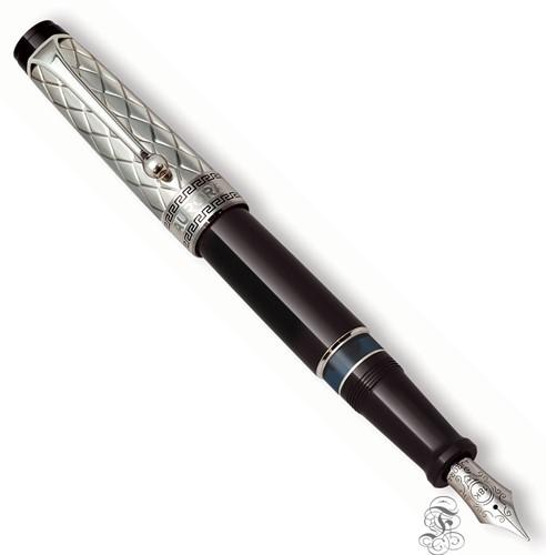 Aurora Optima Riflessi zwart met zilveren dop vulpen