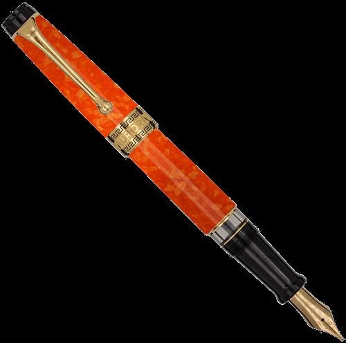 Aurora Optima orange, gold trim fountain pen