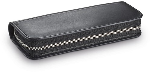 Lamy pen case for 2 pens folding case black leather with zipper
